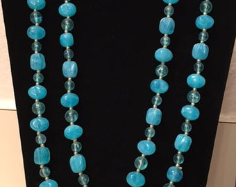 """Vintage Blue Beaded necklace ~53"""""""