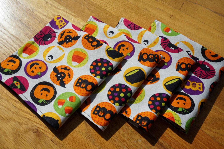 Halloween cloth napkins large reversible set of 4 bats for Halloween cloth napkins