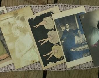 Lot of 5 cards postcards love vintage n3