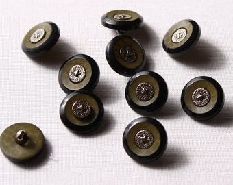 6 buttons 18mm to rod green spotted (7383)