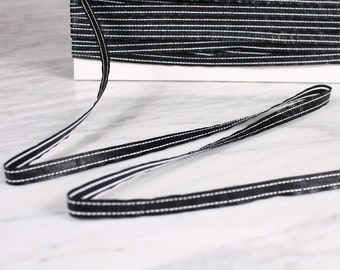 5 m Ribbon 10mm, polyurethane, black and white (0379)