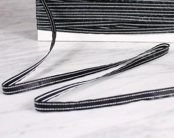 5 m Ribbon 10mm, polyurethane, black and white (0379)
