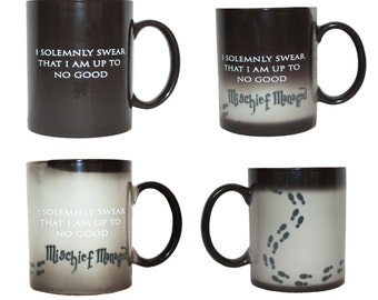 Harry Potter I Solemnly Swear Mischief Managed Mug Heat Reactive Ceramic Transforming Coffee Cup FAST Shipping