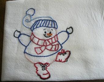 Embroidered Snowman Flour Sack Dishcloth