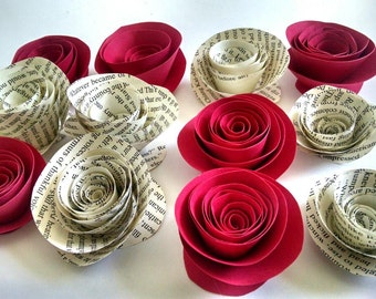 Book Page Roses - Red Roses - Paper Roses - Set of 12 - Card Stock Roses - Paper Flowers
