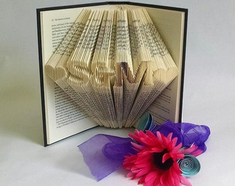 Folded Book Art Featuring Custom Initials - Great Gift for the Book Lover