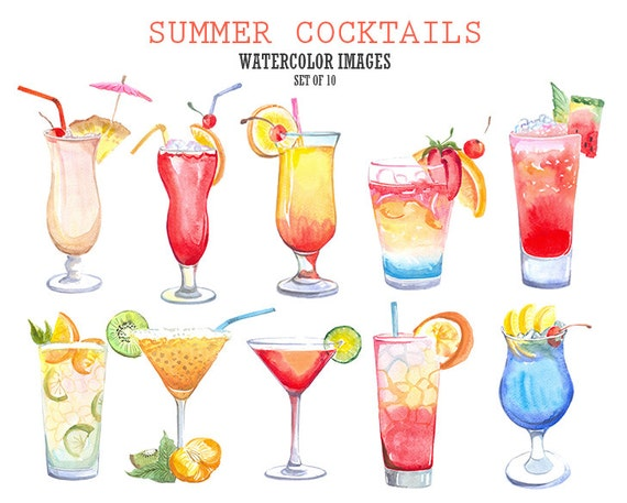 Summer cocktails clipart Summer clipart Watercolor clip art