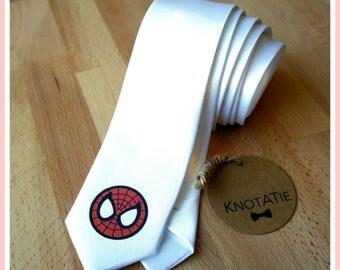 Spiderman Tie.Man Neck Tie.PRINTED.Spiderman Neckties.Skinny Tie.Man tie.Superheroes Necktie.mans tie.Spiderman Gift.Spiderman Necktie.Man