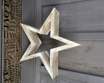 Antiqued white rustic wooden star