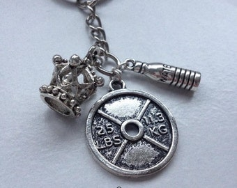 "Gym Queen ""Queen of the Gym"" Silver Keyring For Gym Lovers"