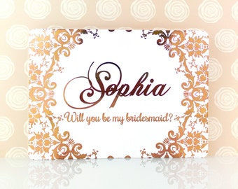 Personalized Rose Gold Will You Be My Bridesmaid Card, Matron of Honor, Rose Gold Foil, Maid of Honor, Jr Bridesmaid, Flower Girl, Custom