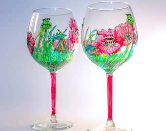"""Two glasses for red/white wine """"Poppies"""""""