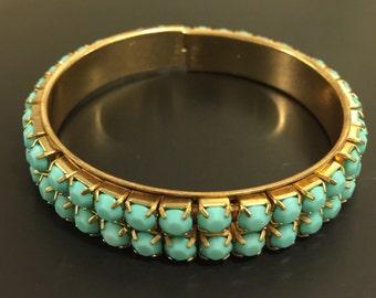 Aqua Blue Jeweled Gold Tone Stretch Bangle