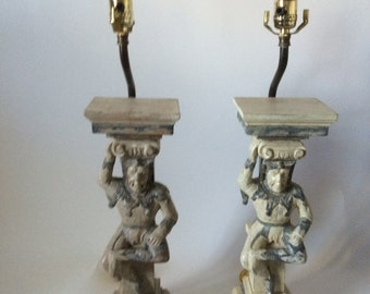 Pair of Hand Carved Wooden Court Jesters Lamps