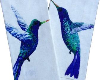 FREE SHIPPING !  Hummingbird Tea Towels, set of 2