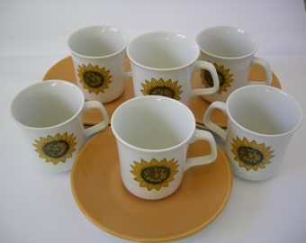 J & G Meakin Six Sunflower Cups and Saucers, Palma design 1960s