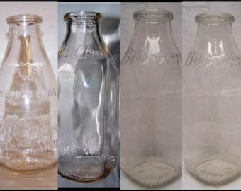 4 rare 1 quart Biltmore milk bottles