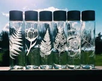 Etched Glass Water Bottle