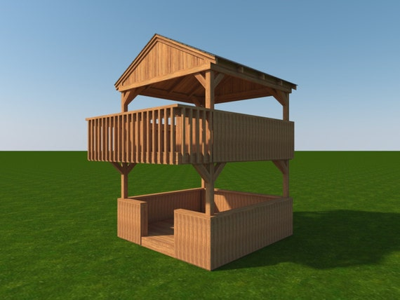 Build your own 2 story playhouse fort diy plans fun to build for How to build a 2 story playhouse