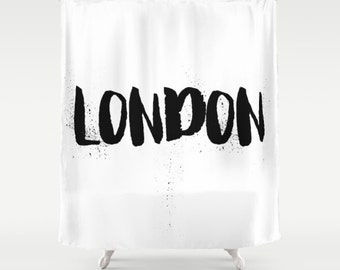 London Shower Curtain, Black and White Shower Curtain, Modern Shower Curtain, Fabric Shower Curtain, Standard or Extra Long, White, Black