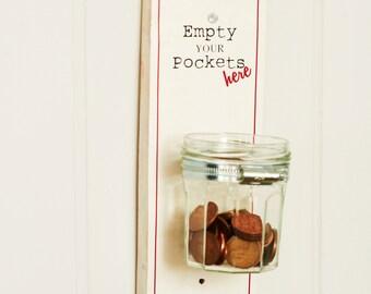 Savings Jar - Piggy Bank - Money Jar - Laundry Jar - Pennies Holder - Money Holder - Cents Collector - Wooden Money Savings Jar - Glass Jar
