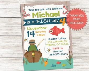Gone Fishing Invite Fish Invitation 5x7 Digital Personalized Lake River Kids