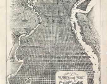 1870 Map of Philadelphia Pennsylvania & Reading Railroad