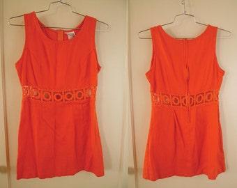 60s/70s Vintage Orange Cut out GoGo Mini Dress