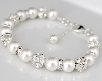 Wedding Jewelry, Bridal Pearl Jewelry, Bridal Bracelet, Wedding Bracelet, Swarovski Pearl Bridal Jewelry, Rhinestone Bracelet