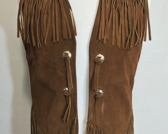70's brown leather suede vest frgnged western cowboy