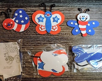 Kids craft kit - Patriotic bug magnet kit - makes 3