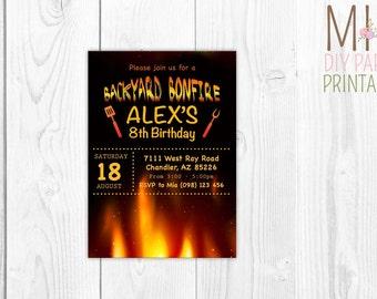 Bonfire invite,Bonfire Birthday Invitations, Bonfire Birthday Party, Bonfire Invitations, Backyard Bonfire, Smores, Bonfire invite,