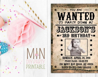 Wanted Invitation 2,Cowboy Invitation - Wanted Poster Printable Birthday Invitation - Wild Wild West Invitation, wanted poster invite