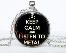 36# Keep calm and listen to metal pendant, rock pendant, rock jewelry, rock necklace, punk, heavy metal accessories, alternative fashion