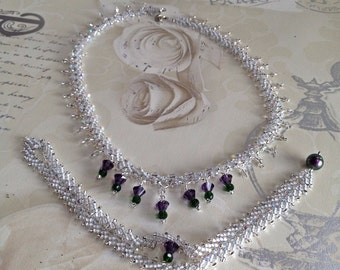 Scottish Thistle Wedding Set Necklace And Bracelet