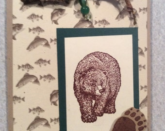 Handmade Card of Grizzly Bear with Fish background and Beaded Twig