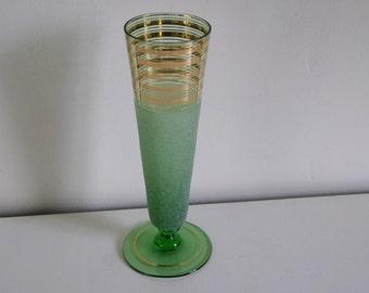 Vintage 40-50's granulous green glass vase with golden lines