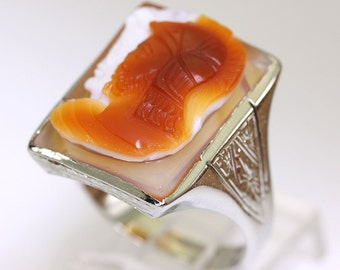Mens cameo ring 14K white gold vintage ornate estate shell sz 9 3/4