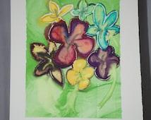 Bouquet flowers wall art monoprint original handmade one of a kind purple green yellow blue garden flowers gift