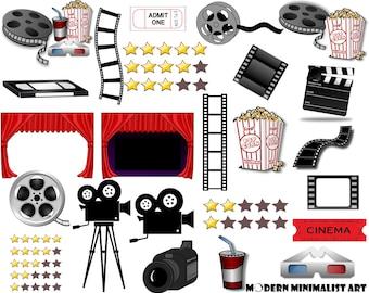 27 PNGS, Movie night clipart , Movie clip art, Theatre, Theater Clipart, Popcorn, Cinema, Film Reel, Digital Cinema, Frames, Film TV Clipart
