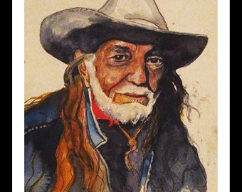 Watercolor Willie Nelson Print