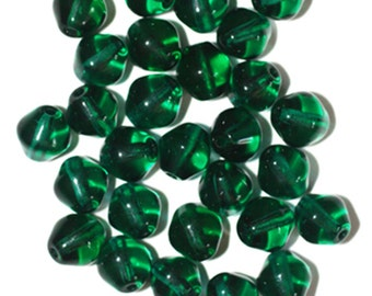 Emerald Bicone Czech Pressed Glass Beads 8mm  (pack of 30)