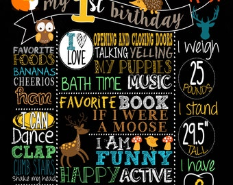Woodland Forest Themed Birthday Milestone Poster