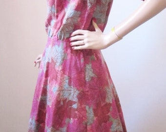 60s Dress 60's Day Dress 1960's Cotton Novelty Print Leafs Fuscia Turquoise