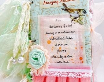 Autumn Mixed Media Journal/Shabby Chic Journal/Fabric Journal/Peach Mint/Collectible Art/Art Journal/Altered Journal/Handmade Journal