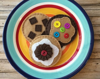 felt food chocolate chip cookies, play food cookies, felt cookies, pretend play food, dramatic play food