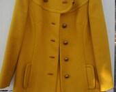 1960's Women's Wool brass buttons Mustard yellow colored Pea Coat winter coat jacket overcoat car coat by Gaynes