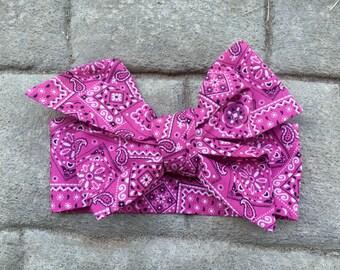 TIED, Pink Headwrap, Bandana Headwrap, Baby Bows,Toddler Headwrap, Big Bow Headwrap, Headband,  Headwrap, Infant Headwrap, Baby Girl, Turban