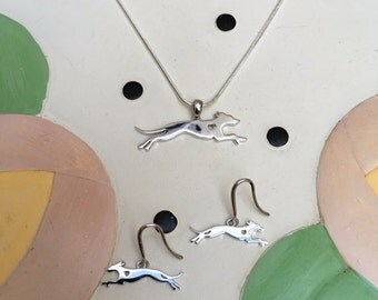 Greyhound Sterling Silver Necklace and Earrings Gift Set