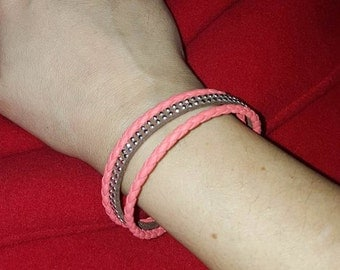 Coral pink woven bracelet